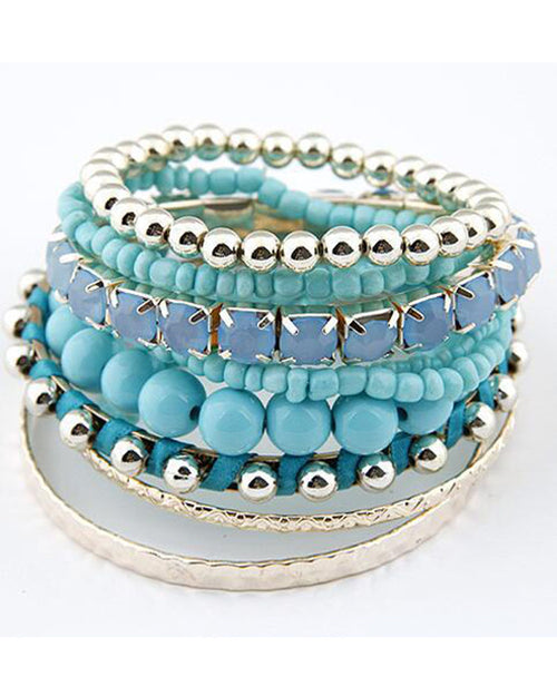 Multicolor Beaded Layered Bracelet Set