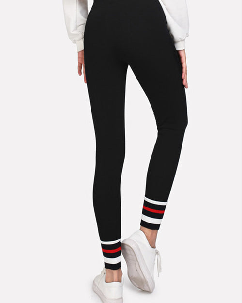 Active Striped Color Block Contrast Leggings