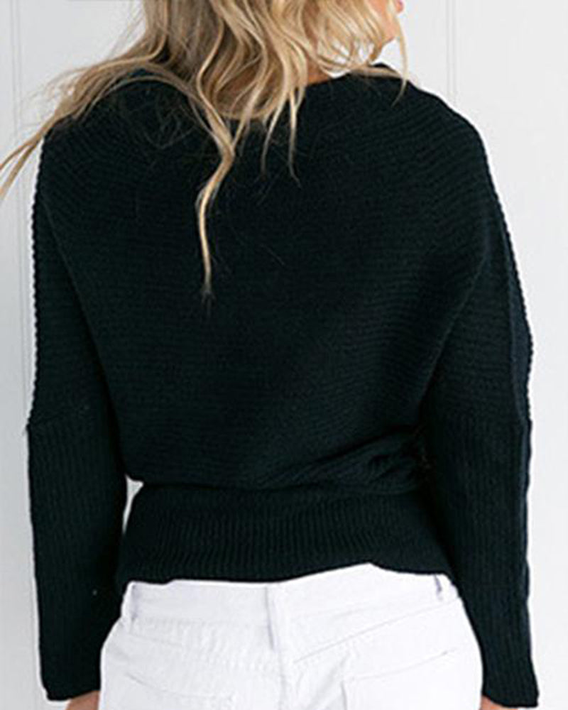 Black Off the Shoulder Wrap Knit Sweater