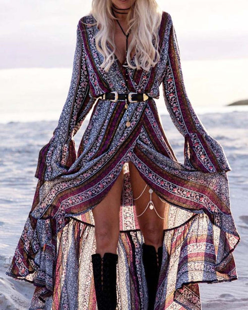 Tribal Print Ruffle Hem Wrap Maxi Dress