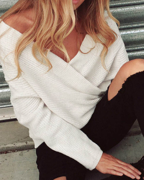 White Off the Shoulder Wrap Knit Sweater