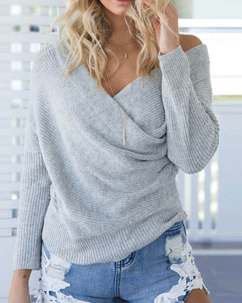 Grey Off the Shoulder Wrap Knit Sweater