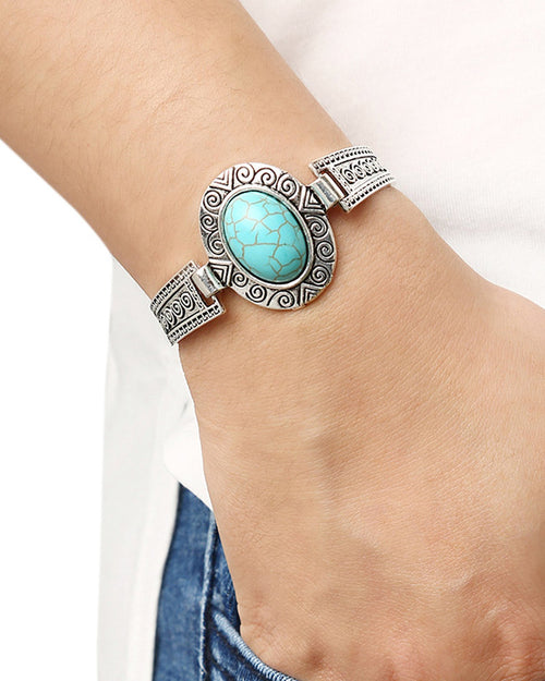 Vintage Oval Turquoise Set-in Carved Bracelet