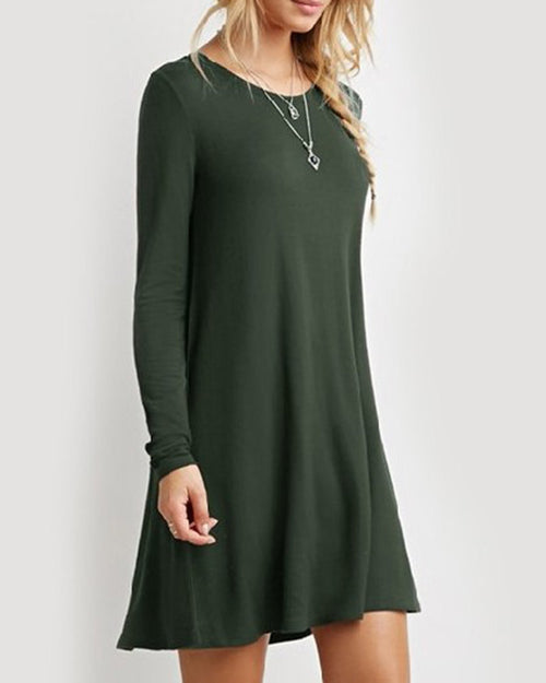 Army Green Basic Swing Tshirt Dress