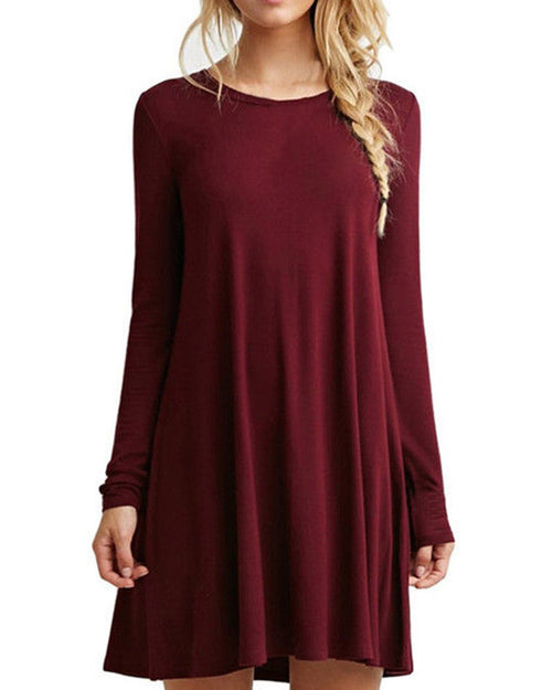 Burgundy Casual Swing Dress