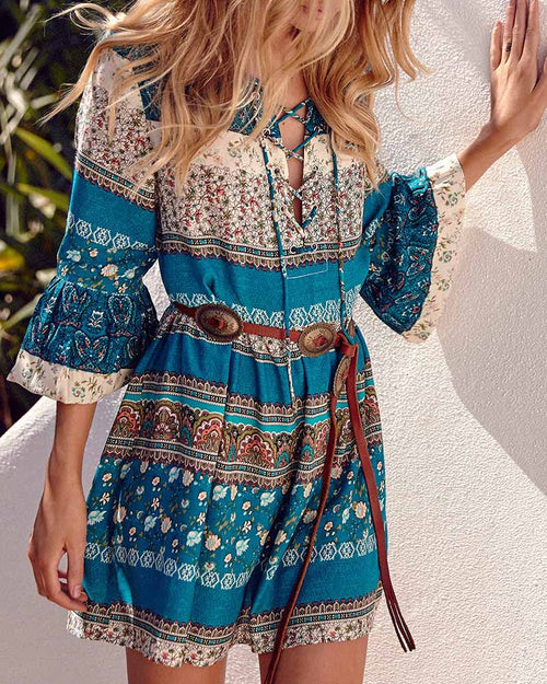 Boho Print Criss Cross Bell Sleeve Ruffle Dress
