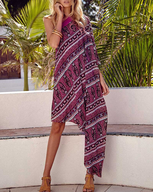 Asymmetric Bohemian Print One Shoulder Dress