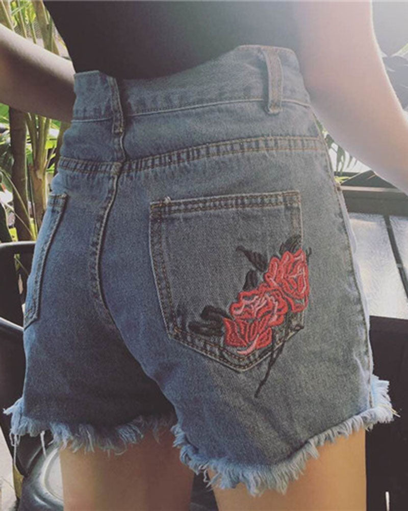 Floral Embroidered Raw Hem High Waist Denim Shorts