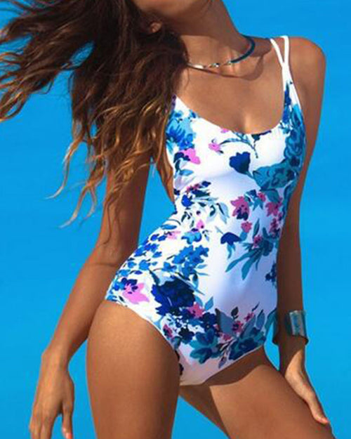 Elastic Floral Print Lace Up One Piece Swimwear