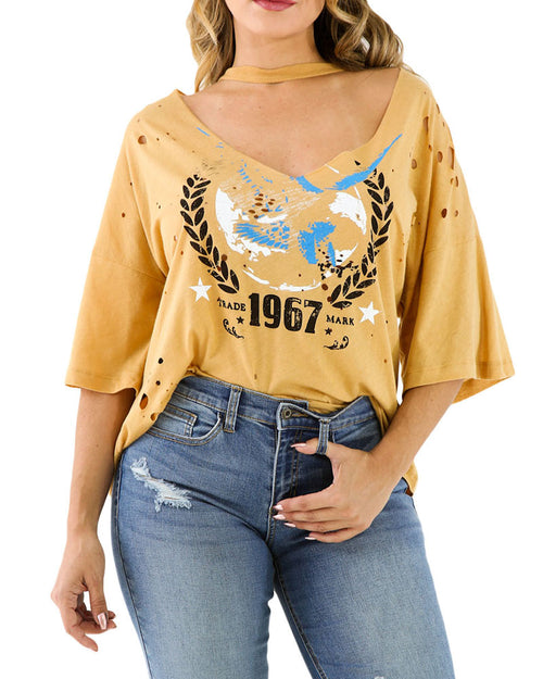 Deep V Neck Cut Out Casual High Low Tee