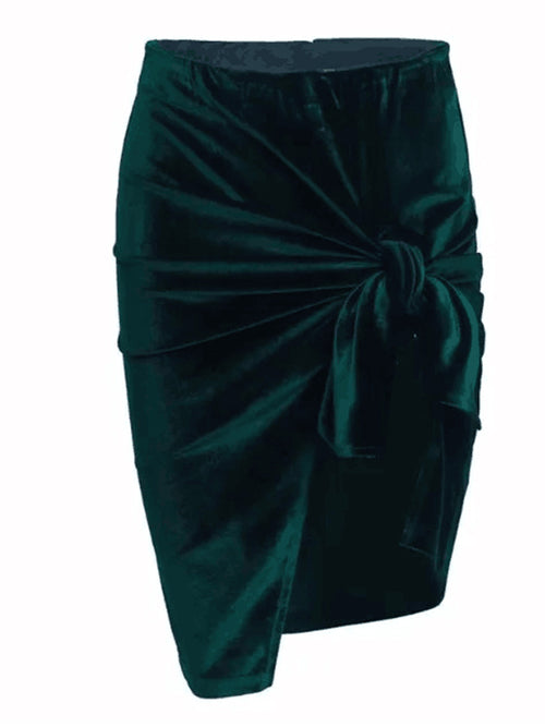 Split Asymmetric Belted Velvet Skirt