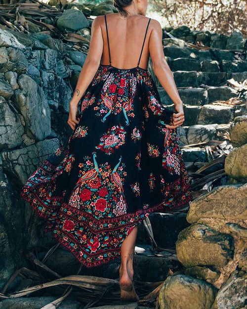 Vintage Flower Print Strappy Backless Long Dress