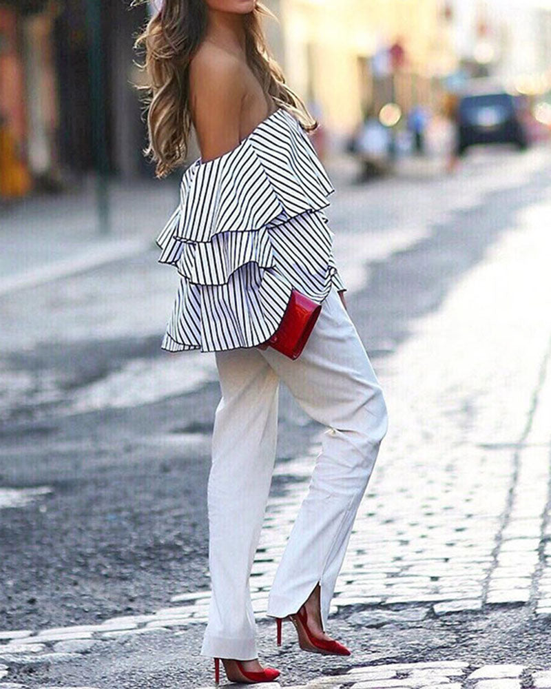 Flounce Layered Off the Shoulder Stripe Blouse