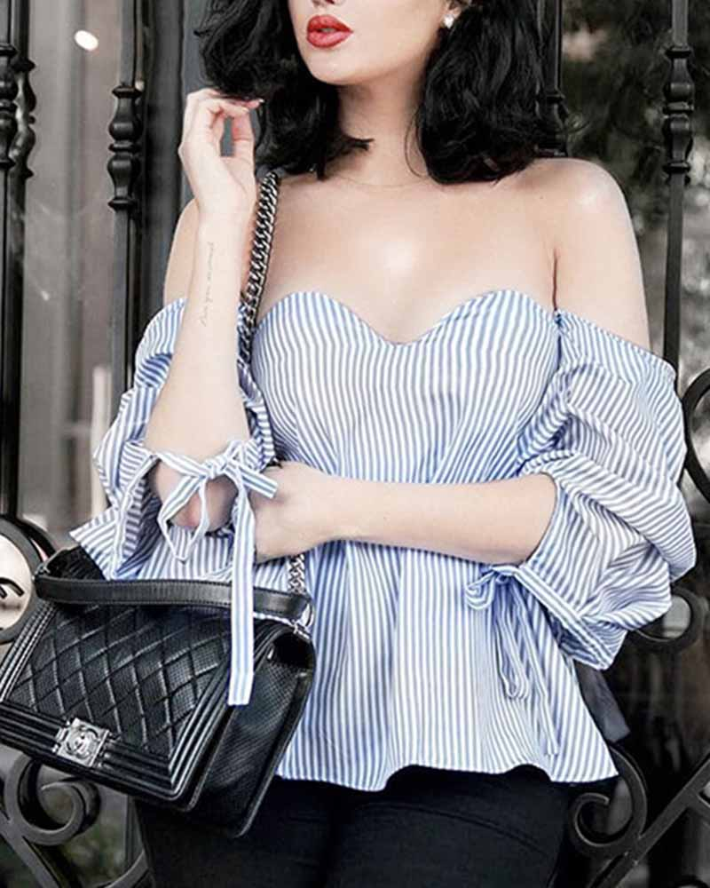 Vertical Stripe Puff Tied Sleeve Bardot Top