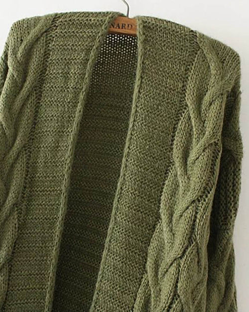 Army Green Cable Knit Sweater Cardigan