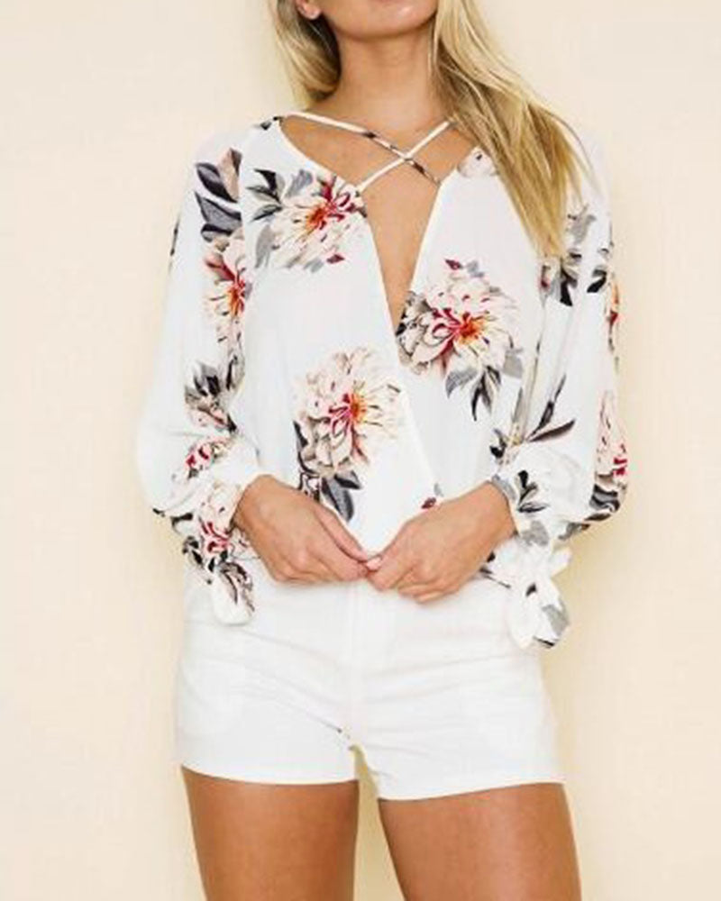 Floral Print Criss Cross Wrap Knotted Sleeve Blouse