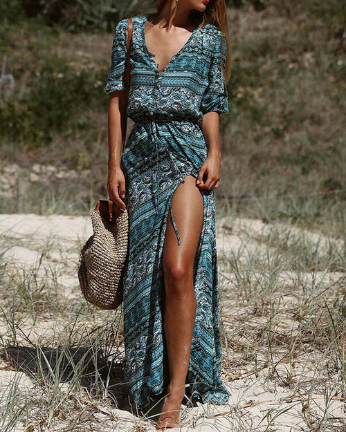 V Neck Bohemian Print Lace Up Long Dress