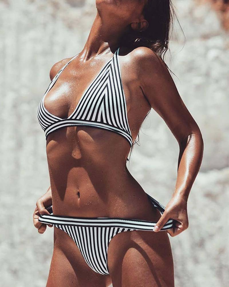 Striped Lace Up Triangle Bikini Set