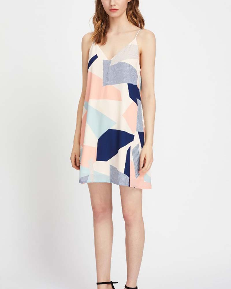 Color Block V Neck Strappy Dress