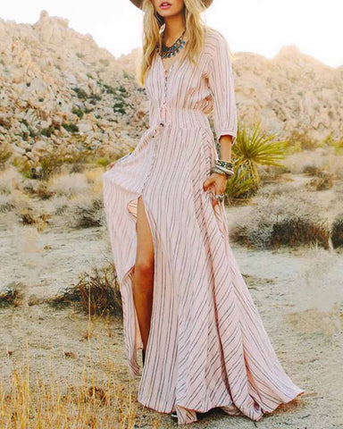 Pink Print V Neck Button Front Maxi Dress
