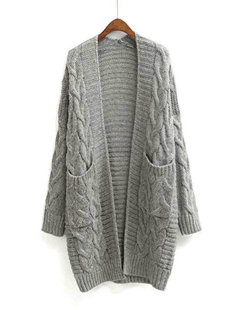 Grey Open Front Cable Knit Longline Cardigan
