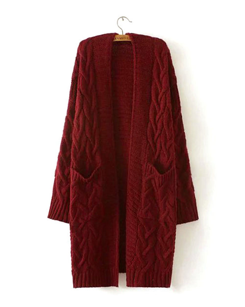 Burgundy Open Front Dual Pocket Knit Cardigan