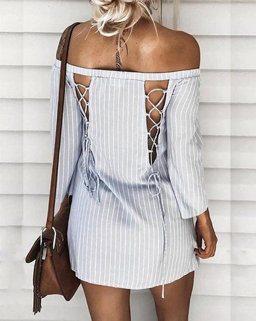 Off the Shoulder Lace Up Stripe Dress
