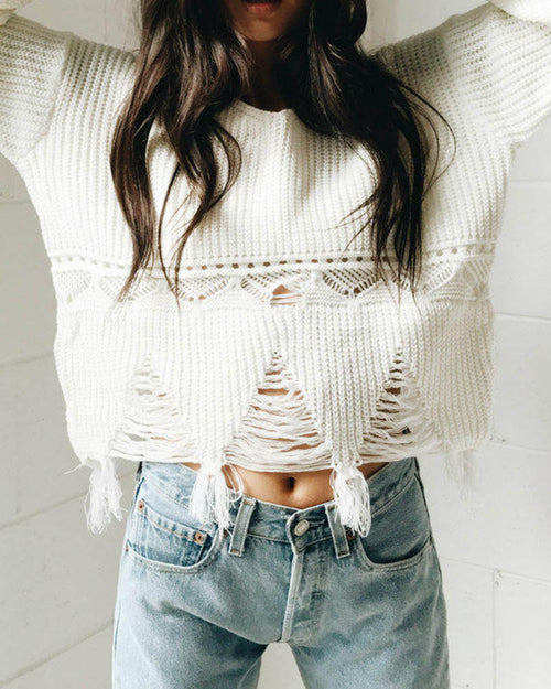 White Crochet Ripped Hem V Neck Sweater