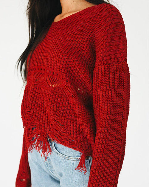 Burgundy Crochet Ripped Hem Crop Jumper