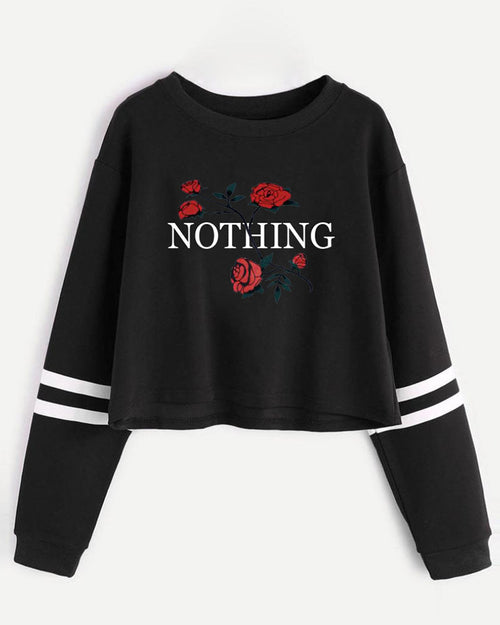Rose Slogan Print Crop Striped Sweatshirt
