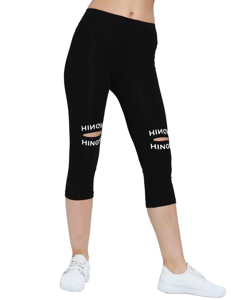 Active Striped Print Cut-out Leggings