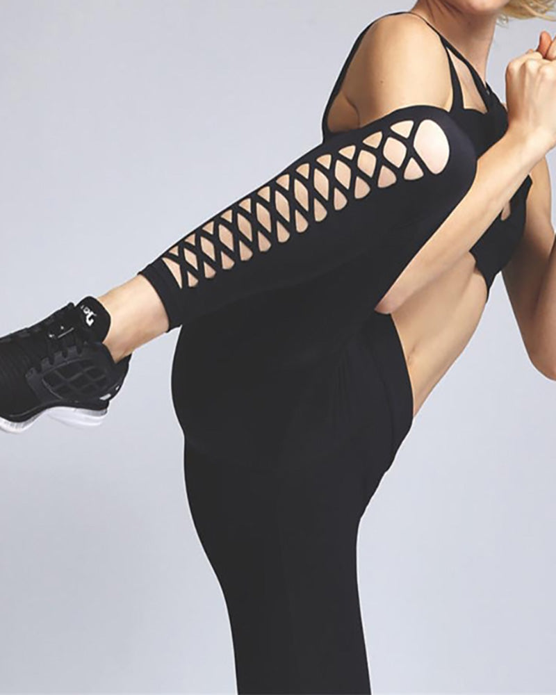 Active Lace-Up Plain Slim Fit Leggings