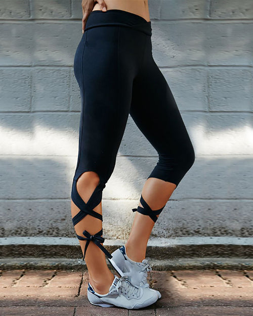 Active Hip-lifting Lace-Up Yoga Leggings