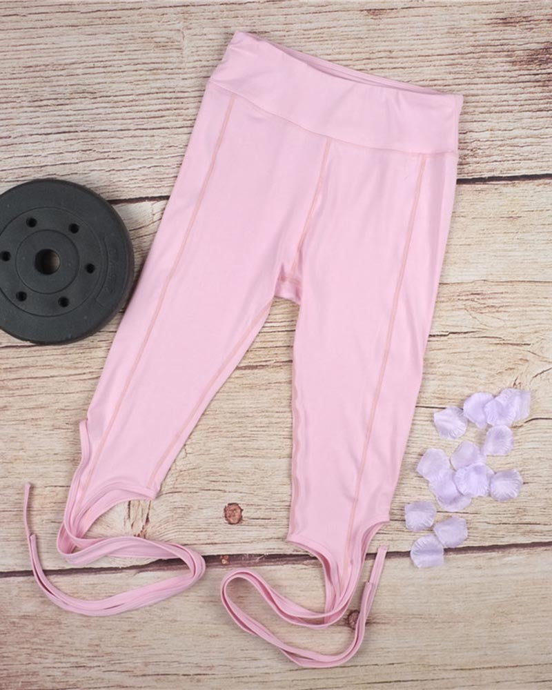 Active Pink Hip-lifting Lace-Up Yoga Leggings
