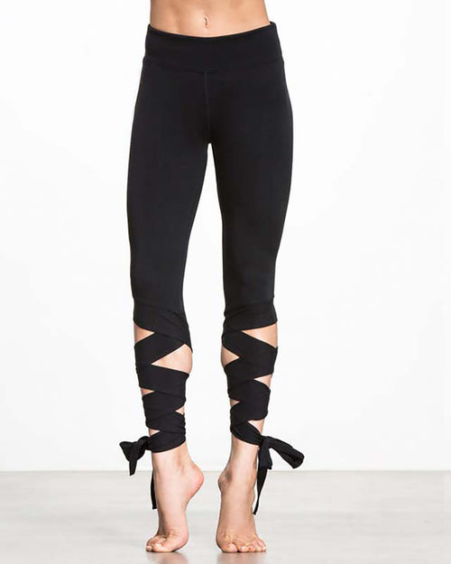 Active Medium Waist Lace-Up Yoga Leggings