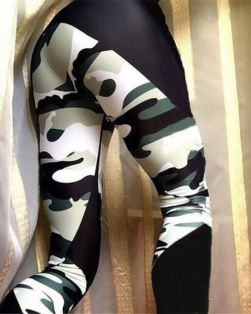 Active Color Block Camo Print Leggings
