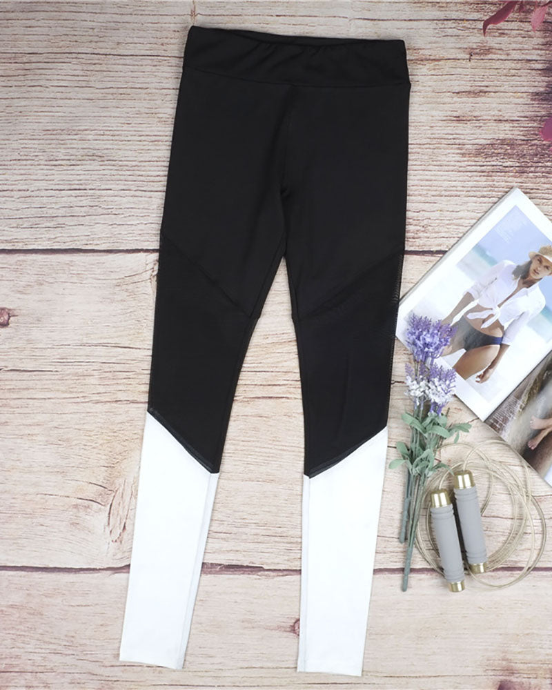Active Mesh Contrast Color Block Yoga Leggings