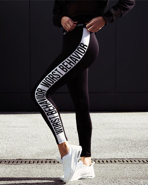 Active Slogan Print Side Slim-Fit Sports Leggings