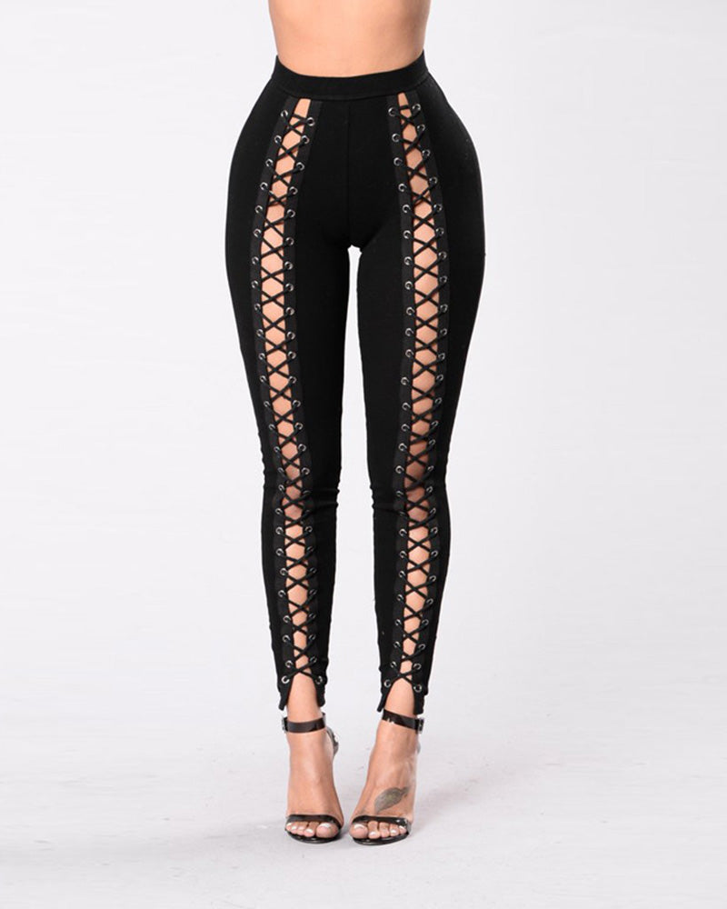 High Waist Hip-lifting Lace-Up Leggings