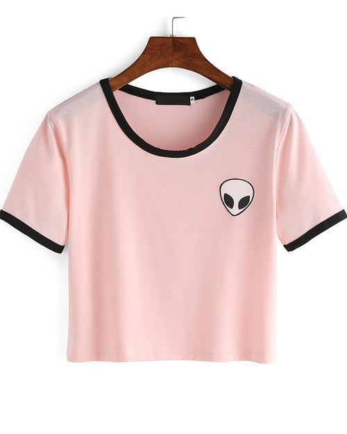 Basic Crew Neck Contrast Alien Print Crop Tee