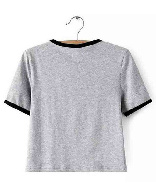 Grey Basic Crew Neck Contrast Alien Print Crop Tee