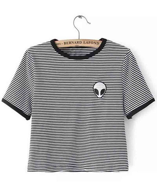 Striped Basic Crew Neck Contrast Alien Print Crop Tee