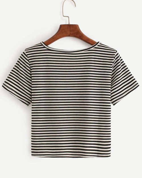 Basic Black and White Striped Button Crop Tee