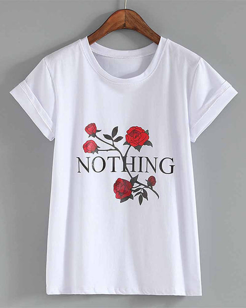 Rose Slogan Print Rolled Sleeve T-shirt