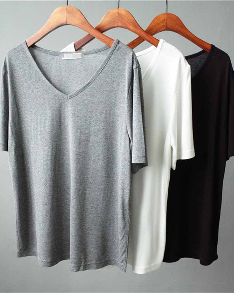 Casual Crew Neck Plain Basic T-shirt