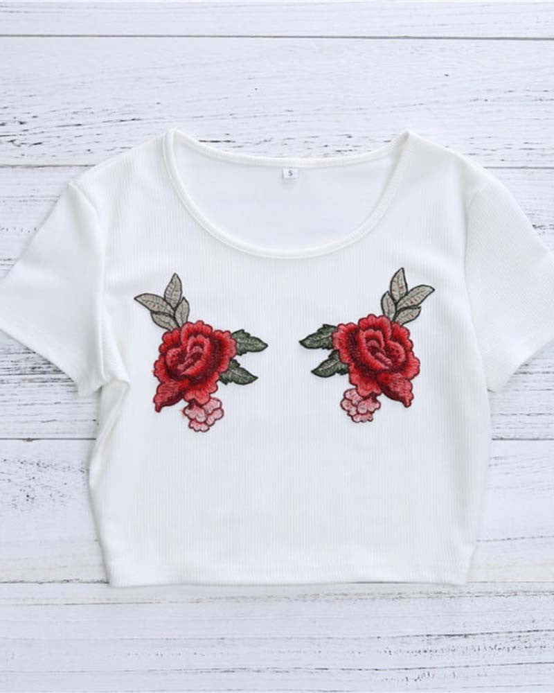 Rose Print Embroidery Knit Cropped T-shirt
