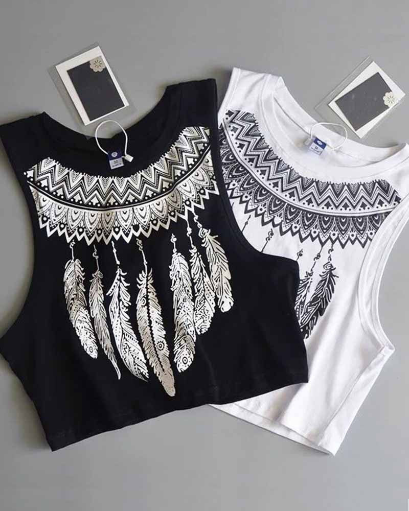 Crew Neck Feather Print Cropped Tank Top