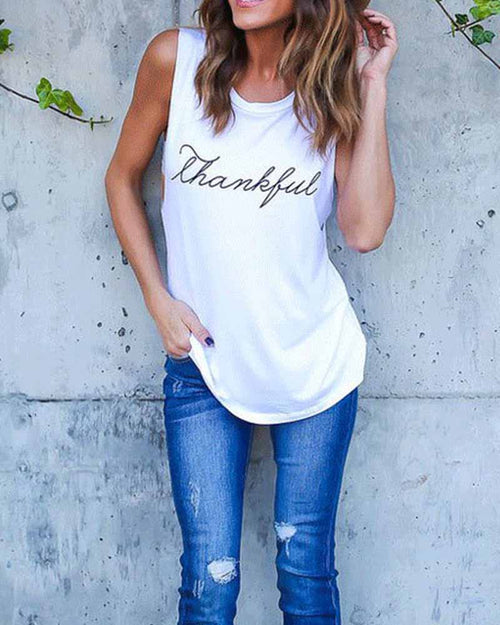 White Slogan Print Tank Tops