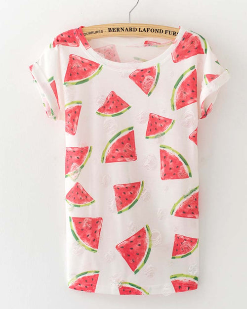Watermelon Print Ripped Crew Neck Tshirt