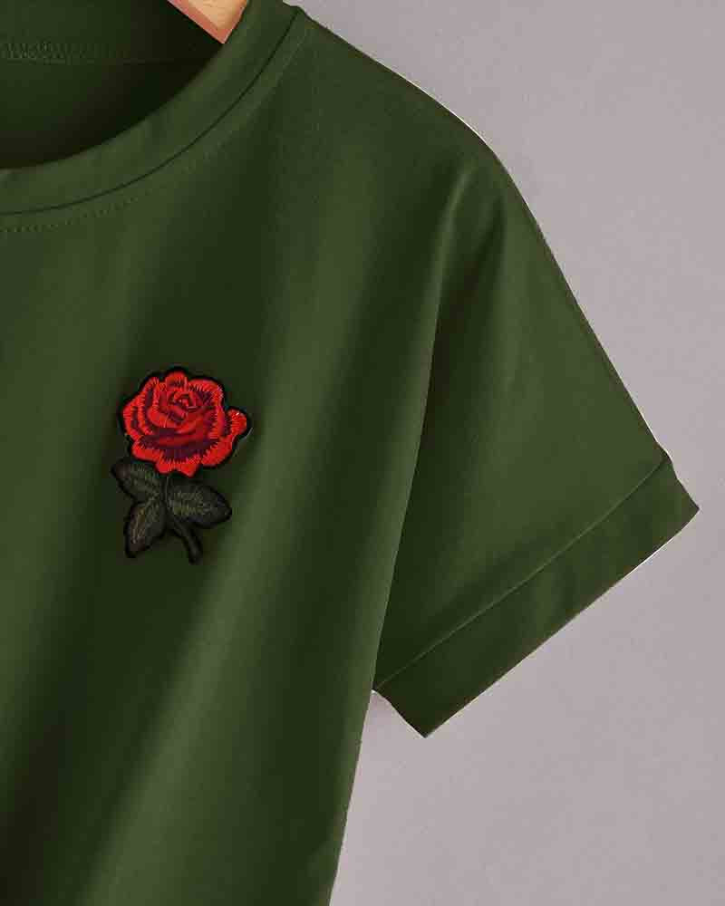 Army Green Floral Embroidered Lace Up Knotted T-shirt